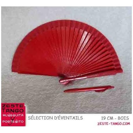 Éventail basique, 18,5 cm - rouge, bois