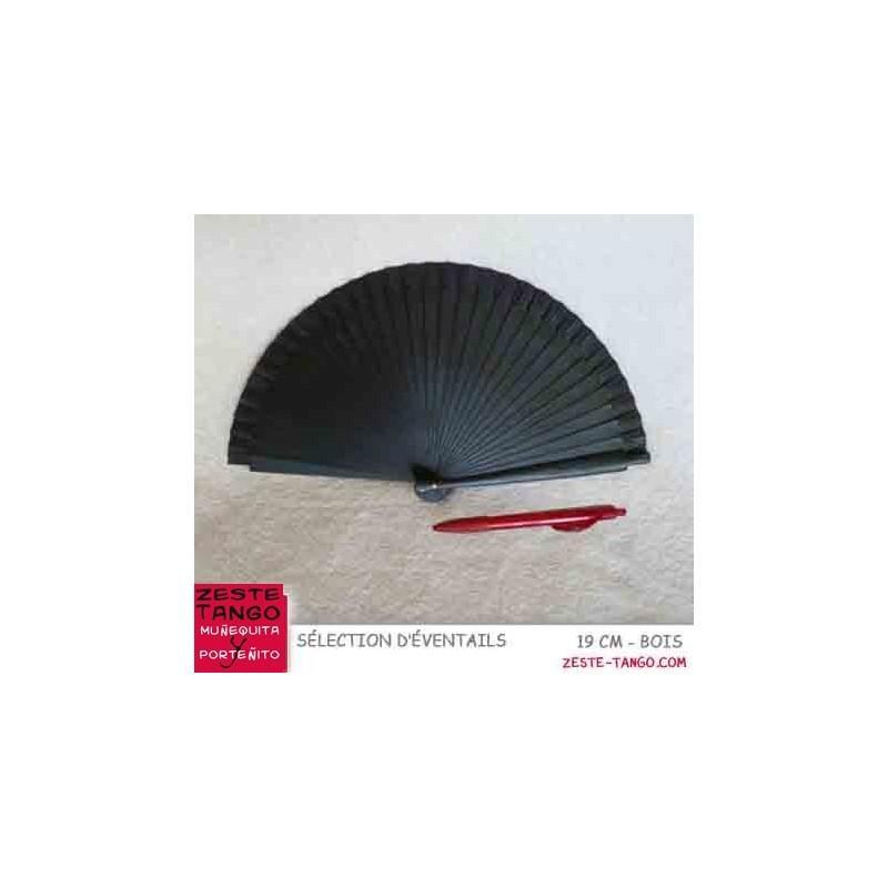 Éventail basique, 18,5 cm - noir, bois