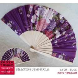Éventail, fleurs satin - 23 cm - violet