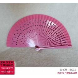 Éventail motif cœurs ajourés. 18,5 cm - rose, bois