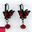 B.O Papillon strass - rouge et noir