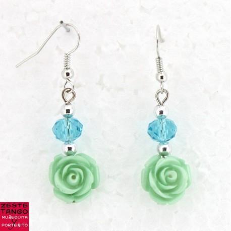 B.O Rose et perle facettée - vert