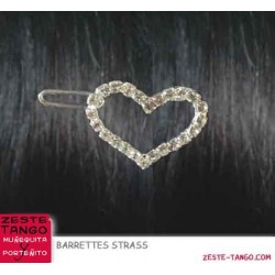 Barrette motif Coeur strass, modèle 1