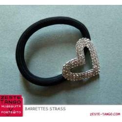 Coeur strass - choucou élastique