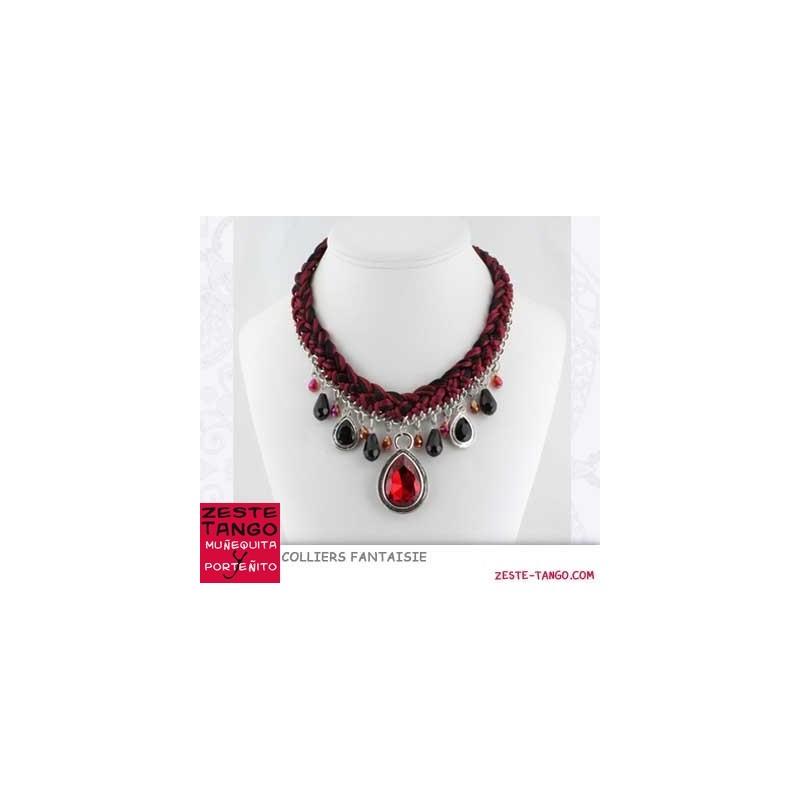 Collier chaîne & tresse, en rouge et noir