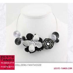 Collier papillon fleuri noir/argent
