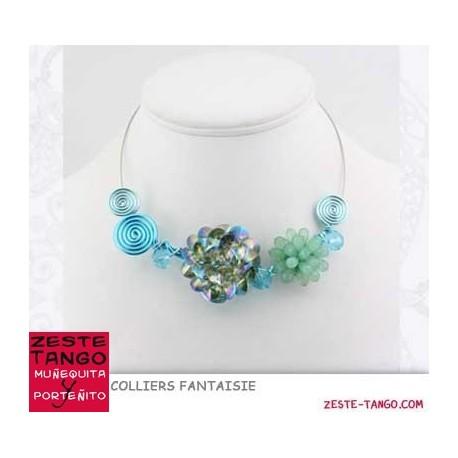 Collier câble- Fleur cristal effet holo
