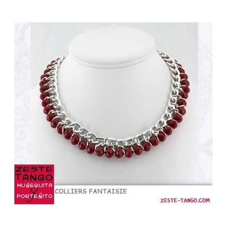 Chaîne ras-de-cou, perles rouge