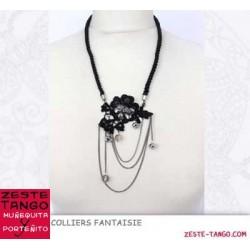 Collier dentelle et perles, sur cordon, noir / argent