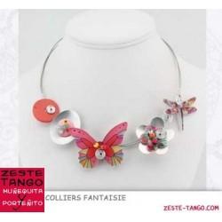 Collier papillon fleuri rouge
