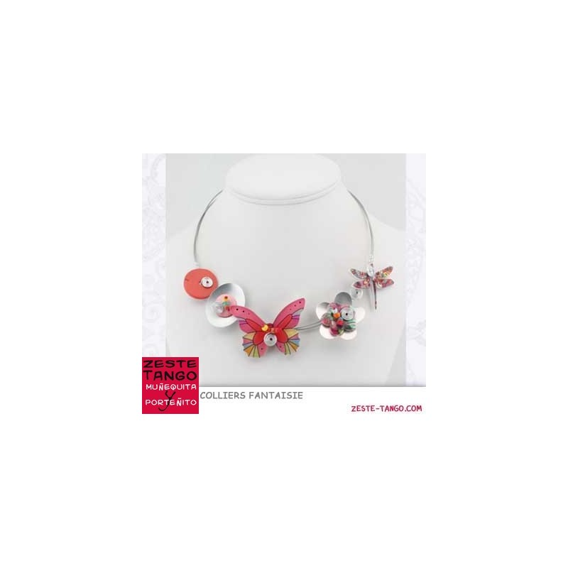 Collier papillon fleuri rouge