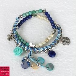 Chaîne, tresse, pierres, pampilles - 01- vert, bleu