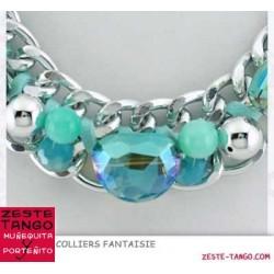Collier chaîne, perles et cristal (1)