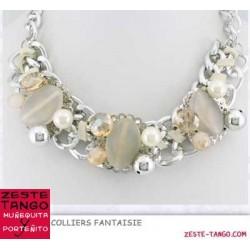Collier chaîne, perles et cristal (1)- Beige
