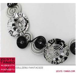 Collier câble. Spirales noir / argent