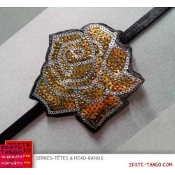 Head-band motif rose. Paillettes brodées or/argent