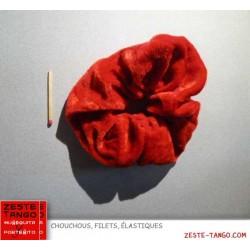 Chouchou tissu velours, basique, rouge