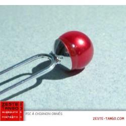 Pic à chignon perle rouge, pas cher