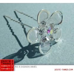 Pic à chignon fleur métal filigrane & strass
