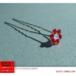 Pic à chignon fleur strass rouge, simple