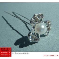 Pic à chignon fleur strass avec perle blanche