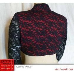 Boléro rouge et noir, dentelle et tissu, style espagnol