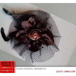 Pince crabe rose tissu et tulle, noire