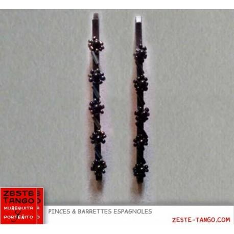 Pince motif fleur perles irisées - noire