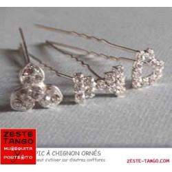 Pack 3 Pics à chignon strass: fleur, coeur et mini noeud