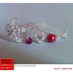 Pack 5 Pics à chignon strass & rouge
