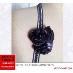 Bretelle amovible dos-nu, décor Roses en 3D - noir