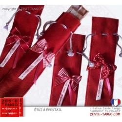 Étui éventail rouge, feutrine, noeud décoratif