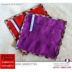 Mini serviette visage et main, fini Biais