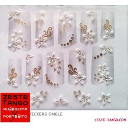 Stickers ongle fleurs blanc et or