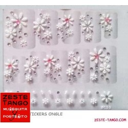 Stickers ongle marguerites blanches