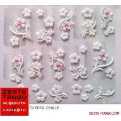 Stickers ongle fleurs blanches