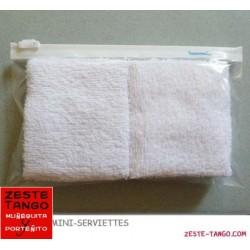 Pack 2 serviettes de poche, coton. Pochette zip