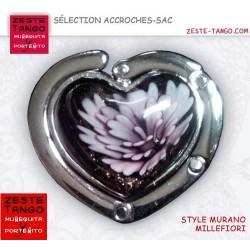 Accroche-sac pliable coeur - Fleur verre mauve