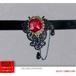 Collier velours noir et bijou rétro, rose rouge
