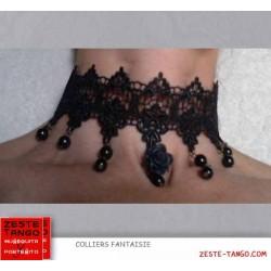 Collier tour de cou noir: dentelle, perles poire