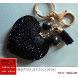Bijou de sac - Sujet Coeur strass noir