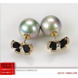 Boucles d'oreilles double, perle grise, noeud émail strass