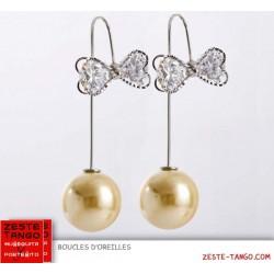Boucles d'oreilles double, pendant perle jaune d'or, noeud strass