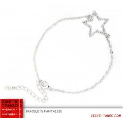 Bracelet fin mascotte étoile strass, argenté