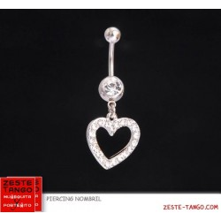 Piercing nombril charm coeur strass