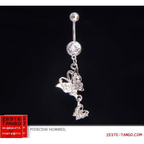 Piercing nombril charm 2 papillons