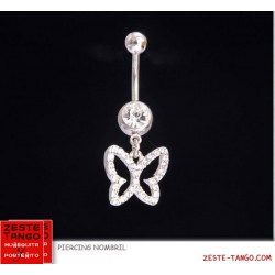 Piercing nombril charm papillon strass