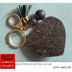 Bijou de sac - Sujet Cœur strass taupe