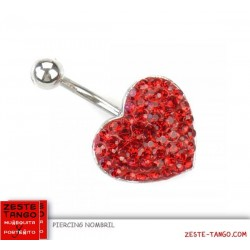 Piercing nombril, fixe, coeur strass rouge