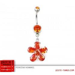 Piercing nombril, pendant. Charm Fleur cristal couleur
